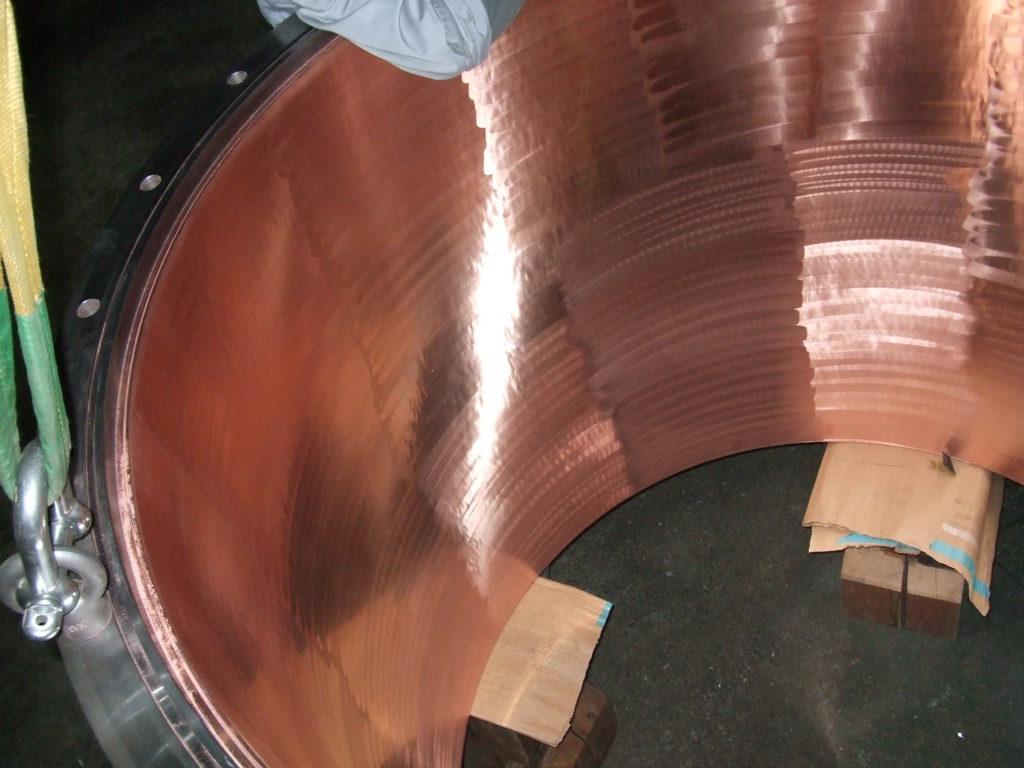 容器内面への銅めっき施工